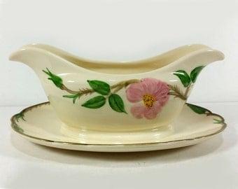 Vintage Gravy Boat, Franciscan Earthenware, Desert Rose Pattern