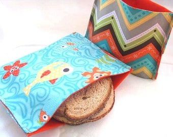 2 pc Reusable Sandwich and Pleated Bottom Snack Bag Set Back to School Lunch Kit Food Storage Under the Sea Theme School Lunch Kit