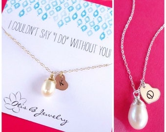 Silver initial necklace for Bridesmaids, Pearl necklace with Bridesmaid thank you card, be my bridesmaid, Bridesmaid gifts, Bridal jewelry