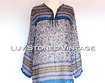 70s Vintage Indian India Sheer Cotton Gypsy Gauze Festival Boho Hippie Blouse Top Shirt | M/L | 1096.8.28.15