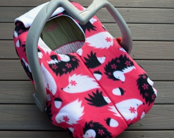 Hedgehog Girl Car Seat Cover for Fall, Winter Baby by Sophie Marie Designs