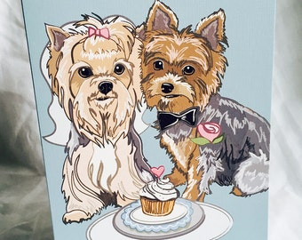 Wedding Yorkies - Greeting Card