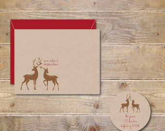 Christmas Cards Set, Recycled Christmas Cards, Holiday Cards, Holiday Card Set, Reindeer, Deer, Mistletoe, Rustic, Reindeer Cards, Set