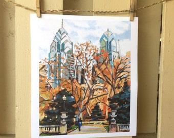 Philadelphia Painting Rittenhouse Square Large 11x14, Philadelphia art print, Cityscape Gwen Meyerson