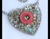 Roller Derby Bearing Necklace - hand cast resin pendant - cotton candy colors