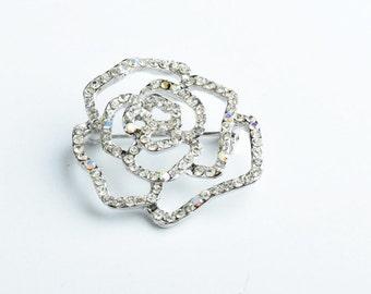35mm Small Rose Pin, Crystal/Crystal AB EA   B4088.01