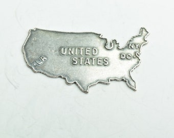 USA Metal Charm, Brass plated Antique Silver , sold 2 each per package 03337