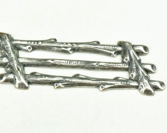 Log Fence section charm Antique silver, sold 3 each, 13134