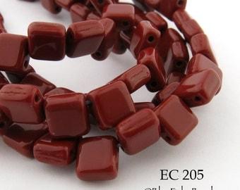 6mm 2 Hole Czech Glass Matte Dark Red Square Tile Bead (EC 205) 25 pcs BlueEchoBeads