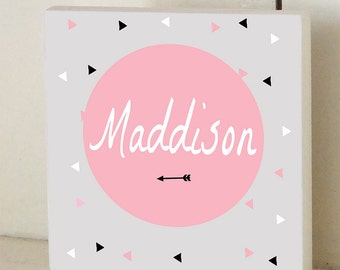Arrow Geometric Pink Custom Wood Sign Name Sign Wall Plaque Personalized Nursery Art