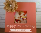 Personalized 1st (First) Birthday Picture Frame, Cake Smash, Smash Cake Picture Frame