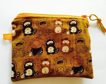 Handmade Cloth Zipper Bag, Japanese Linen Raccoon Print