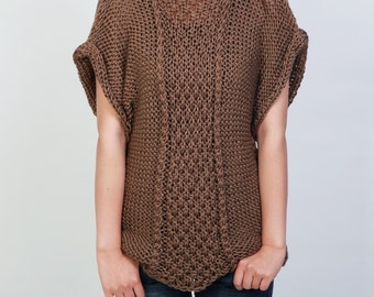 Hand knit sweater Eco cotton Tunic woman sweater Coffee rolled edge Kimono sleeve woman sweater
