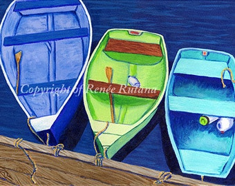 Matted Print of Original CAPE COD Blue, Aqua and Lime Rowboats, Larger Size 11x14""