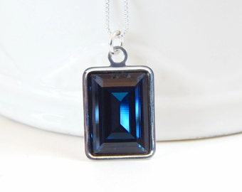 Navy blue crystal necklace - dark blue necklace - Swarovski crystal - emerald cut pendant