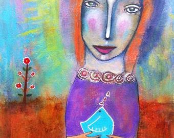 WOMAN AND BLUEBIRD *Original*