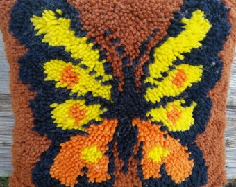 butterfly hooked pillow