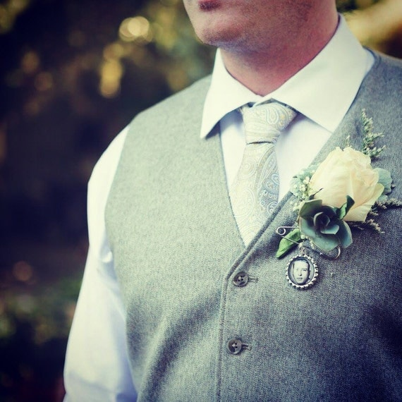 Custom Personalized Photo Bottle Cap Groom's Boutonniere Charm for something treasured