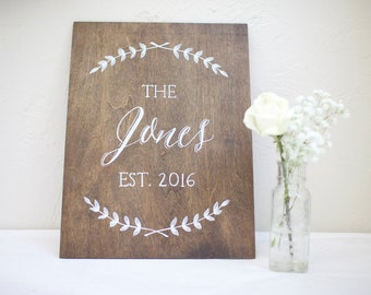Family Name & date hand painted on stained plywood. Personalized gift. Wedding. Housewarming. Anniversary. Bridesmaid/Groomsman gift