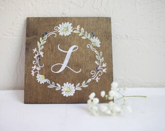 Daisies floral monogram on Stained Plywood. Personalized Bridesmaid gift, Wedding, Shower, Anniversary, housewarming, Mantle, Gallery sign