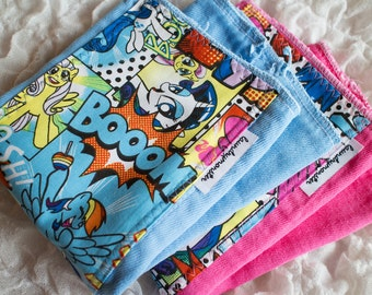 Baby Burp cloth - Rainbow Dash or Pinkie Pie hand dyed burp cloth