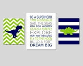 DINOSAUR Nursery Art Trio Baby Boy Nursery - Be A Superhero Quote, Chevron Stripe Dinosaurs - Set of Three Prints - 8x10 and 11x14