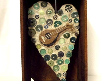 Guitar Heart Assemblage Art Mosaic Green Brown Vintage Buttons Found Object