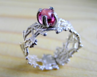Natural pink spinel ring, nature inspired ring, twig sterling silver statement, engagement ring, sterling silver ring, gemstone ring