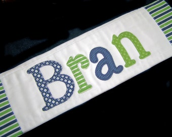 Personalized Baby Burp Cloth - Appliqued - Blue and Green