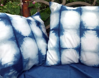 "Indigo Shibori Pillow Covers Set Egyptian Cotton Upcycled Blue White Natural Plant Dye Unusual Throw Pillow Covers  18"" x 20"" Hand Dyed"