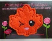 Kids Hair Accessories - Felt Hair Clips - Rust Red/Orange Embroidered Autumn Or Fall Winking Maple Leaf Felt Hair Clippie - Thanksgiving