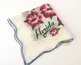 Vintage Florida handkerchief hankie 1950s blue with pink hibiscus blossoms flowers mint with tag Florida souvenir kitsch MWT
