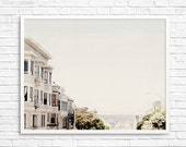 San Francisco Photography, Fpoe,  White Houses, Wall Decor, Travel Photography, Pastel, San Francisco View- White SF