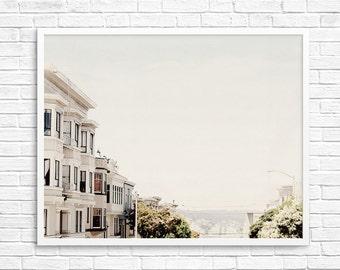 San Francisco Photography, Fpoe,  White Houses, Wall Decor, Travel Photography, Pastel, San Francisco View- White SF