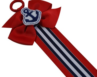 HAIR BOW HOLDER with Removable Embroidered Nautical Anchor Pinwheel Hair Bow  - 3 Feet Long