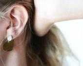 Moonstone earrings, drop earrings, hammered, brass, sterling silver, teardrop, stud, mixed metal // SWOON EARRINGS
