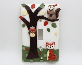 Forest Light Switch Cover or Outlet Cover - Forest Nursery - Woodland Themed Room - Fox Nursery Decor - Owl, Squirrel - Toggle or Rocker
