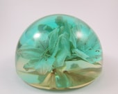 Vintage W Rolfe Lucite Paperweight Green with Preserved Flowers Signed by Artist