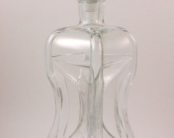 Vintage Clear Glass Pinch Decanter Made in France Liquor Decanter