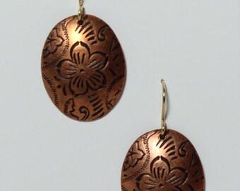 Copper stamped flower pattern