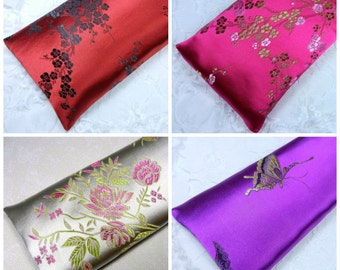 """Extra Large Satin Flax Seed Eye Pillow or Heat Pad 5""""x10"""" Yoga Eye Pillow, Lavender Eye Pillow or Unscented Eye Pillow"""