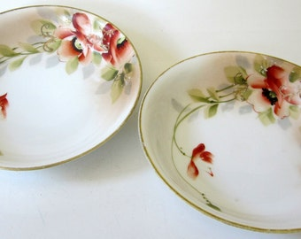Vintage Porcelain Nippon Hand Painted Floral Dish Bowl Pin Dresser Raised Gold Gilt Set of 2