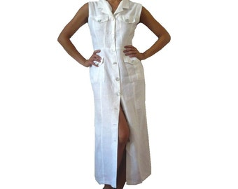 French Vintage Maxi White Linen Shirt Dress