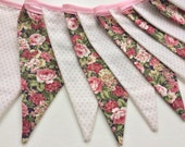 SALE Floral bunting - Shabby Chic,  Fabric Garland, Wedding Bunting, last one in this fabric 8ft with ties