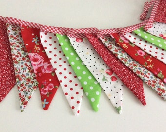 Red floral Bunting - 14 flags in bright red and green summer florals, fabric bunting