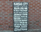 Kansas City Subway Art Sign, Personalized Subway Art, Custom Sign, Typography Sign, Destination Art Sign, Memory Sign, City Subway Art