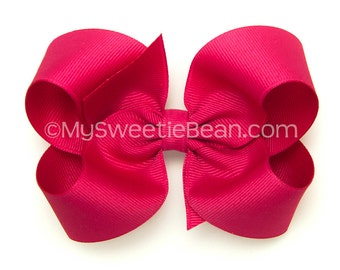"Shocking Pink Boutique Bow, 4 inch Hair Bow, Shocking Pink Bow, 4"" Basic Bow for Baby Girls, Intense Pink, Grosgrain Bow for Toddler Girls"