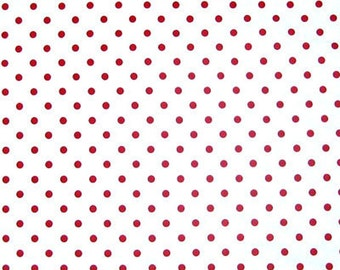 Red on White Polka Dot Cotton Fabric, White with Red Spotty Pure Cotton Fabric