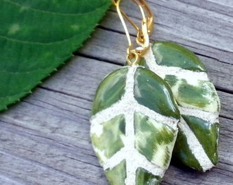 Dangle Leaf Earrings - Golden Yellow & Green - INTERCHANGEABLE - Gold Leaf and Striated Green Leaf - Dangle Earrings