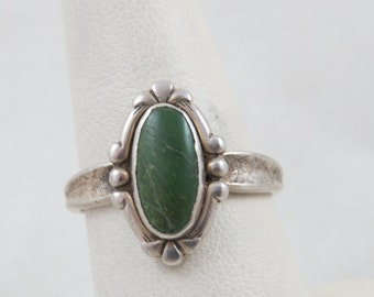 Vintage Sterling Green Turquoise Ring Signed